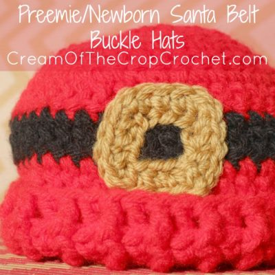 Preemie Newborn Santa Belt Buckle Hat Crochet Pattern