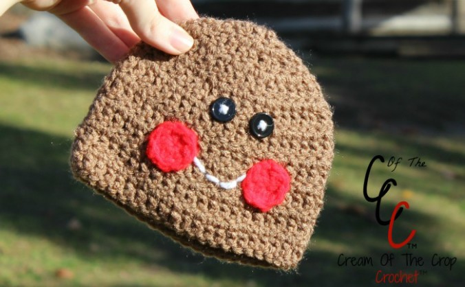 Cream Of The Crop Crochet ~ Preemie/Newborn Gingerbread Boy Hats {Free Crochet Pattern}