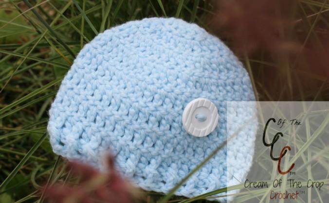 Cream Of The Crop Crochet ~ Preemie/Newborn Button Hat {Free Crochet Pattern}