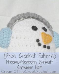 Cream Of The Crop Crochet ~ Preemie/Newborn Earmuff Snowman Hats {Free Crochet Pattern}