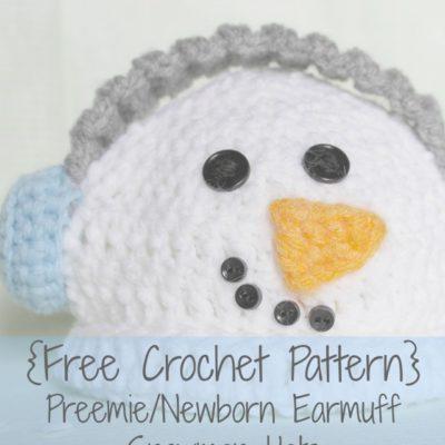 Preemie Newborn Snowman Earmuff Hat Crochet Pattern