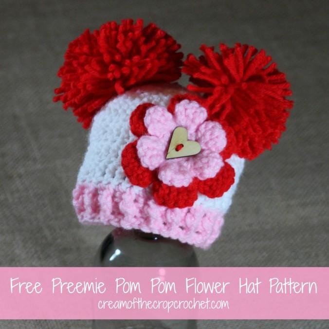 Cream Of The Crop Crochet ~ Preemie Pom Pom Flower Hat {Free Crochet Pattern}