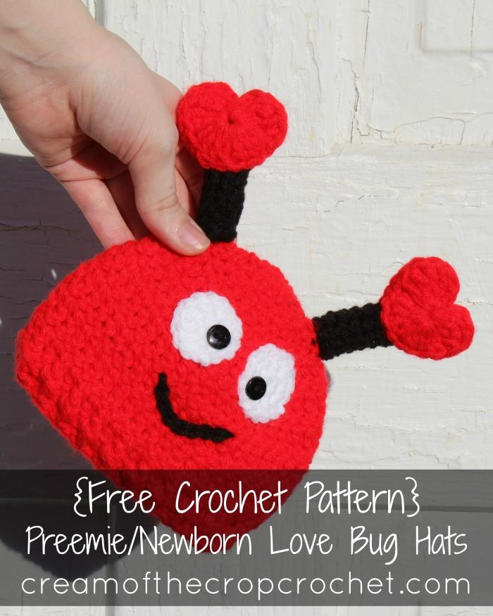 Free #crochet pattern - Love Bug Hats Preemie / Newborn
