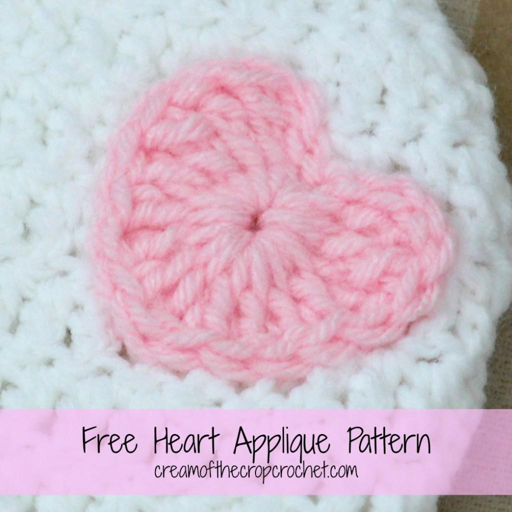 Cream Of The Crop Crochet ~ Heart Applique {Free Crochet Pattern}