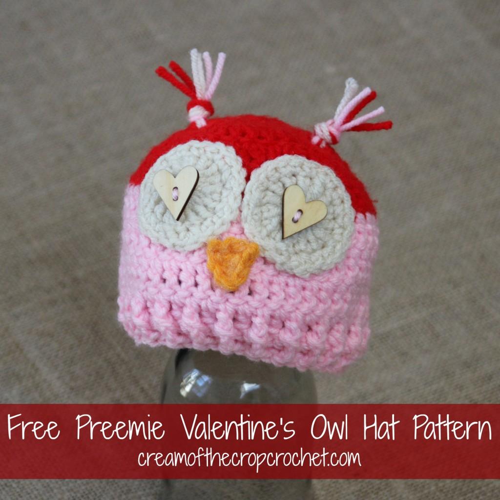 Cream Of The Crop Crochet ~ Preemie Valentine's Owl Hat {Free Crochet Pattern}