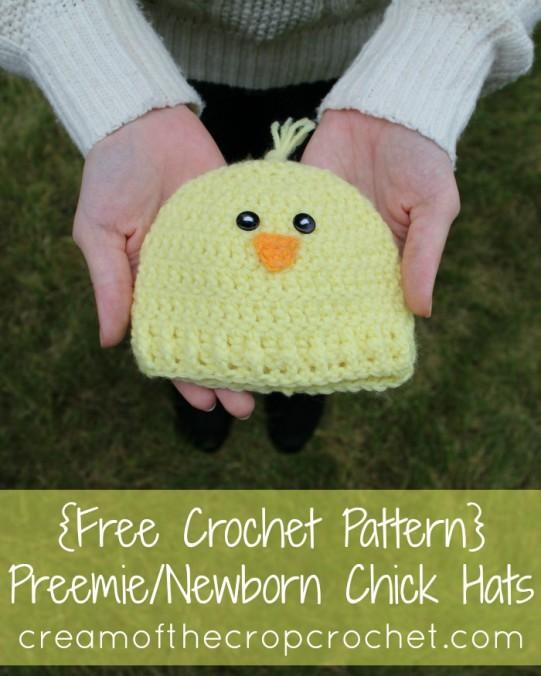 Cream Of The Crop Crochet ~ Preemie/Newborn Chick Hat {Free Crochet Pattern}