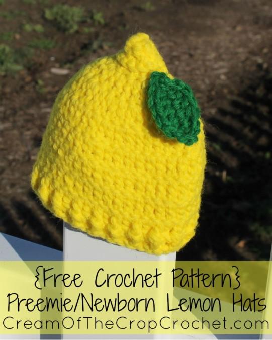 Cream Of The Crop Crochet ~ Preemie/Newborn Lemon Hats {Free Crochet Pattern}