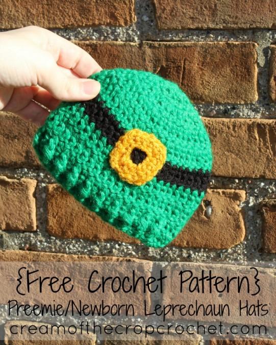 Crochet Baby Leprechaun Hat Pattern : Preemie Newborn Leprechaun Hat Crochet Pattern Cream Of ...
