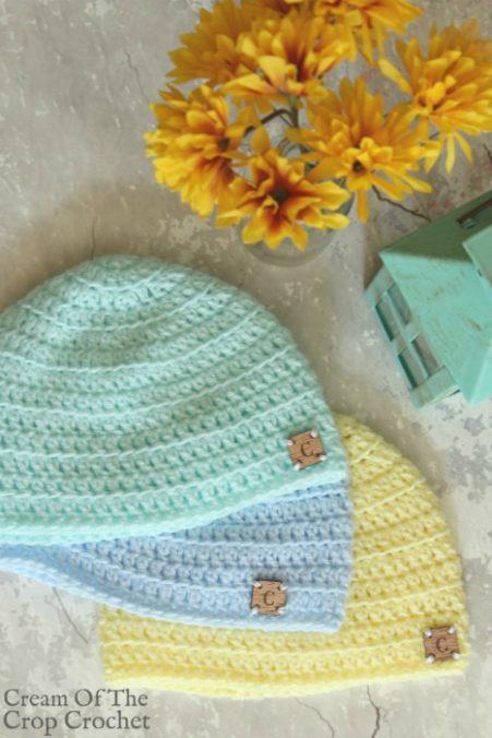 Front Loop Newborn Hat Crochet Pattern   Cream Of The Crop Crochet