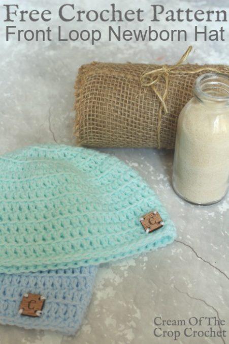 Front Loop Newborn Hat Crochet Pattern | Cream Of The Crop Crochet