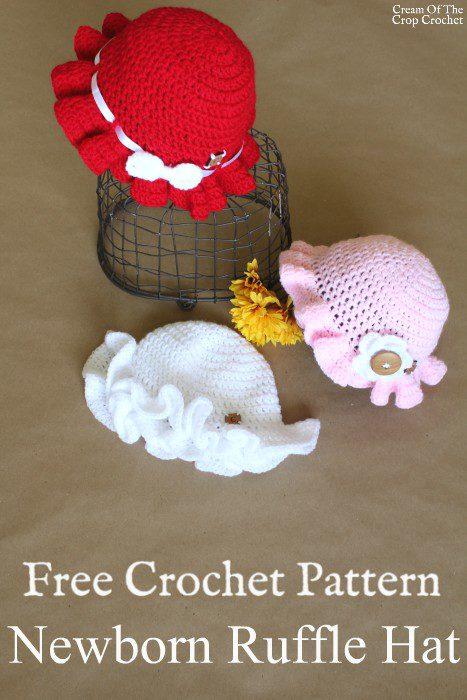 Newborn Ruffle Hat Crochet Pattern | Cream Of The Crop Crochet