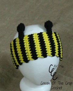 Cream Of The Crop Crochet ~ Bee Ear Warmers {Free Crochet Pattern}