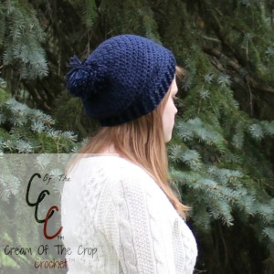 Cream Of The Crop Crochet ~ Slouchy Pom Pom Hat {Free Crochet Pattern}
