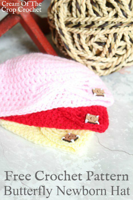 Butterfly Newborn Hat Crochet Pattern | Cream Of The Crop Crochet