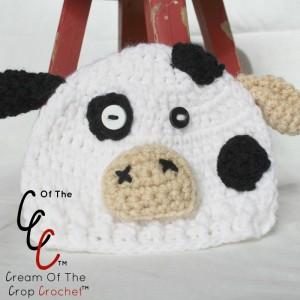 Cream Of The Crop Crochet ~ Preemie/Newborn Cow Hats {Free Crochet Pattern}