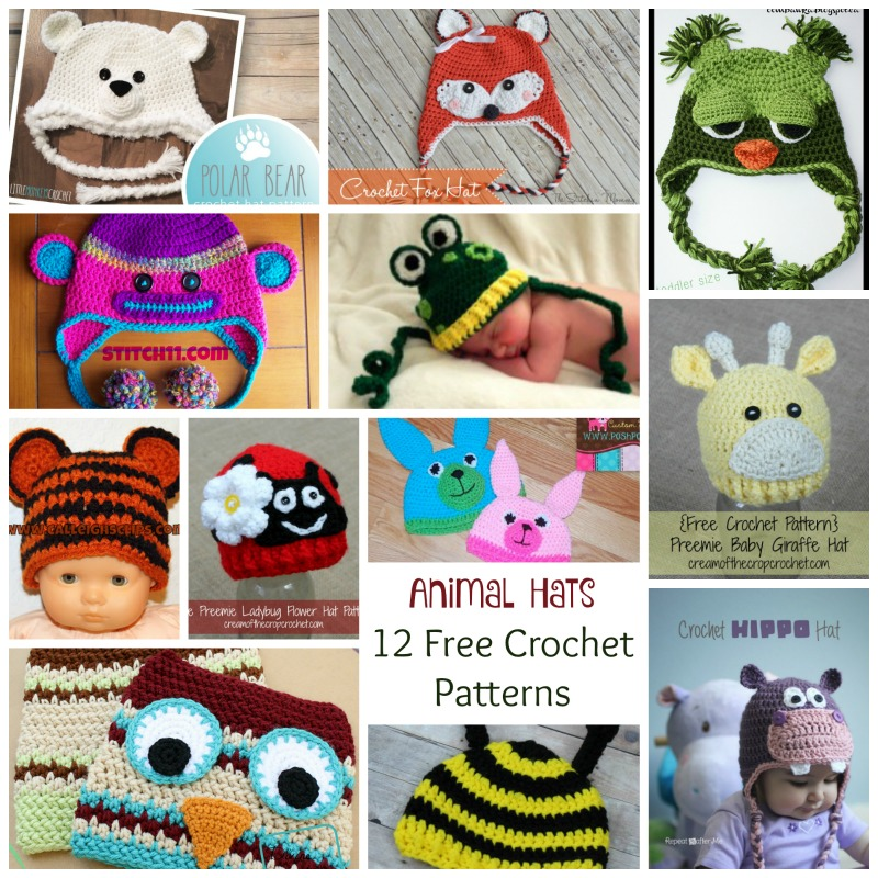 Free Crochet Animal Hat Patterns For Adults : Crochet Animal Hats ~ 12 FREE Crochet Patterns Cream Of ...