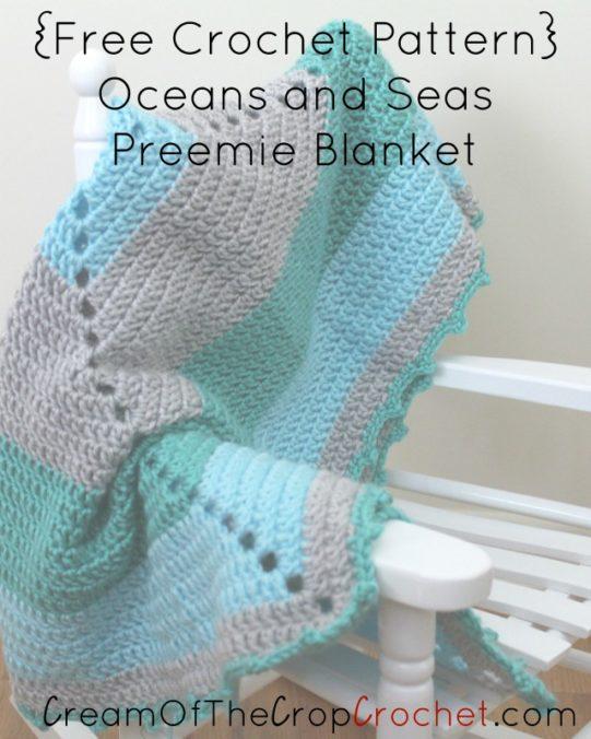 Free Crochet Pattern Preemie Blanket : Oceans and Seas Preemie Blanket Crochet Pattern Cream Of ...