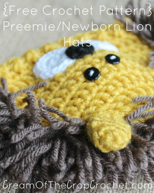 Cream Of The Crop Crochet ~ Preemie/Newborn Lion Hats {Free Crochet Pattern}