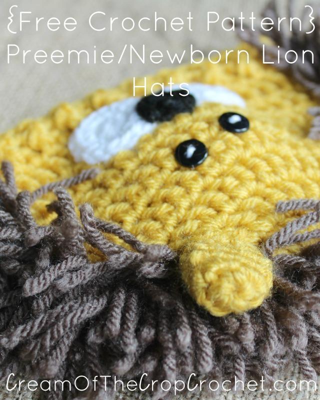 Free Crochet Pattern For Lion Hat : Preemie Newborn Lion Hat Crochet Pattern Cream Of The ...