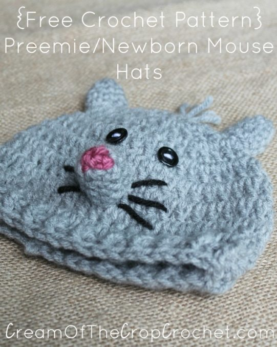 Cream Of The Crop Crochet ~ Preemie/Newborn Mouse Hats {Free Crochet Pattern}
