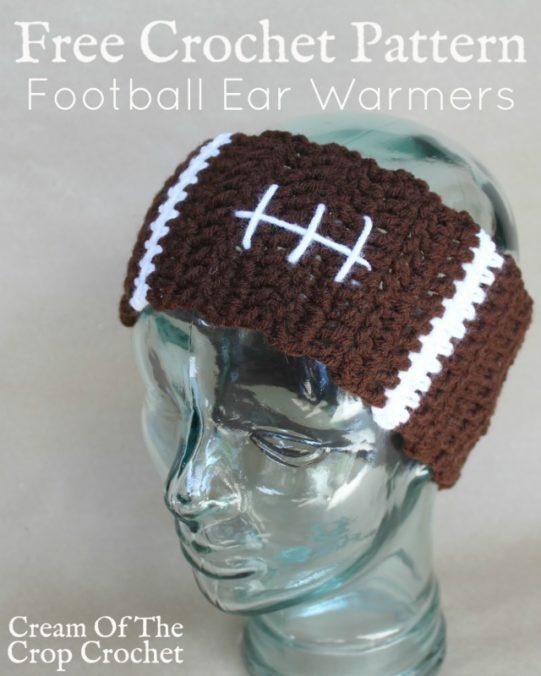 Football Ear Warmers Crochet Pattern | Cream Of The Crop Crochet