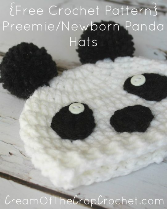 Cream Of The Crop Crochet ~ Preemie/Newborn Panda Hats {Free Crochet Pattern}