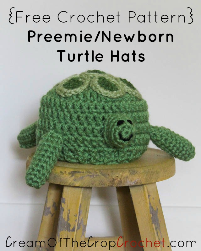 Free Crochet Pattern Turtle Hat : Preemie Newborn Turtle Hat Crochet Pattern Cream Of The ...