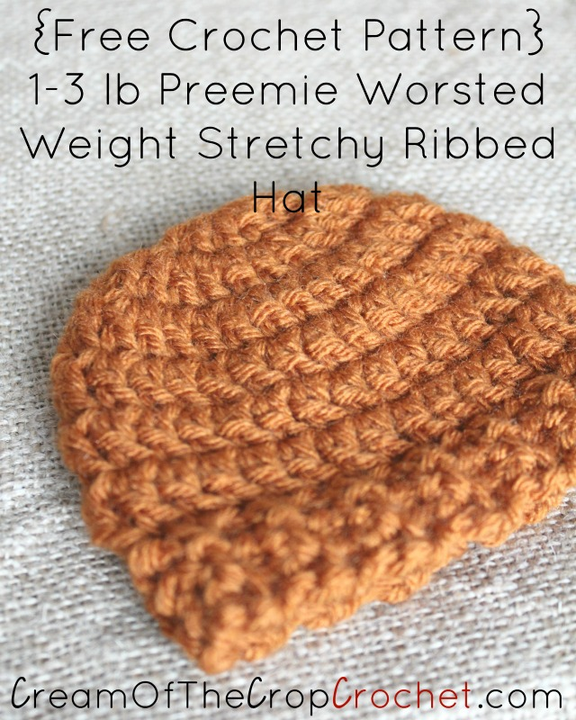 Preemie Newborn Worsted Weight Stretchy Ribbed Hat Crochet ...