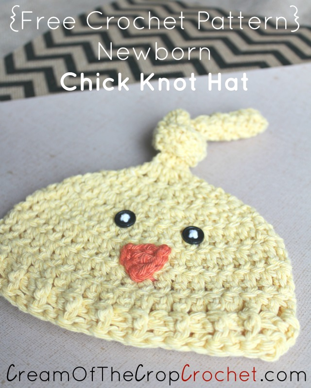 Newborn Chick Knot Hat Crochet Pattern