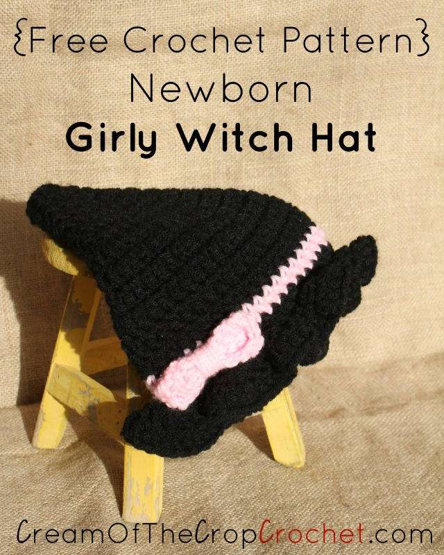 Free Crochet Baby Witch Hat Pattern : Crochet Newborn Girly Witch Hat Pattern Archives Cream ...