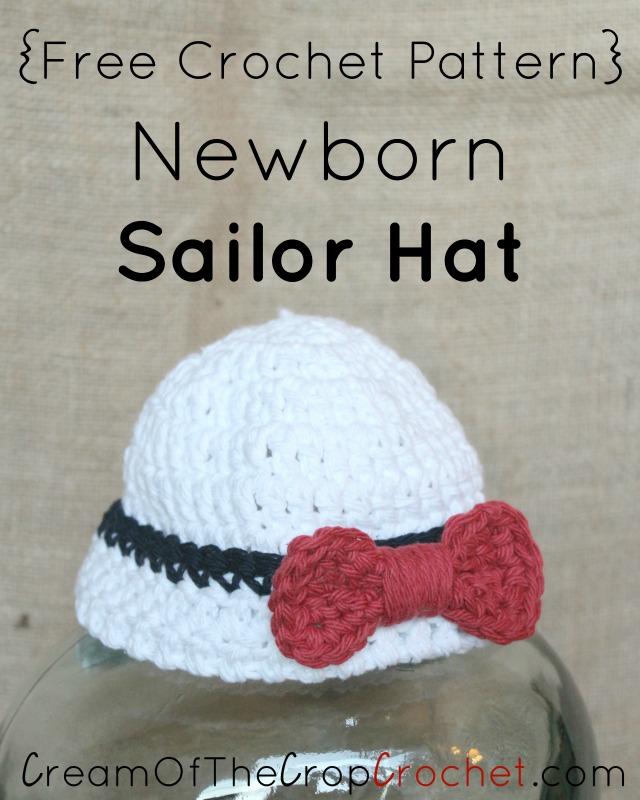 Free Crochet Pattern For Sailor Hat : Newborn Sailor Hat Crochet Pattern Cream Of The Crop Crochet