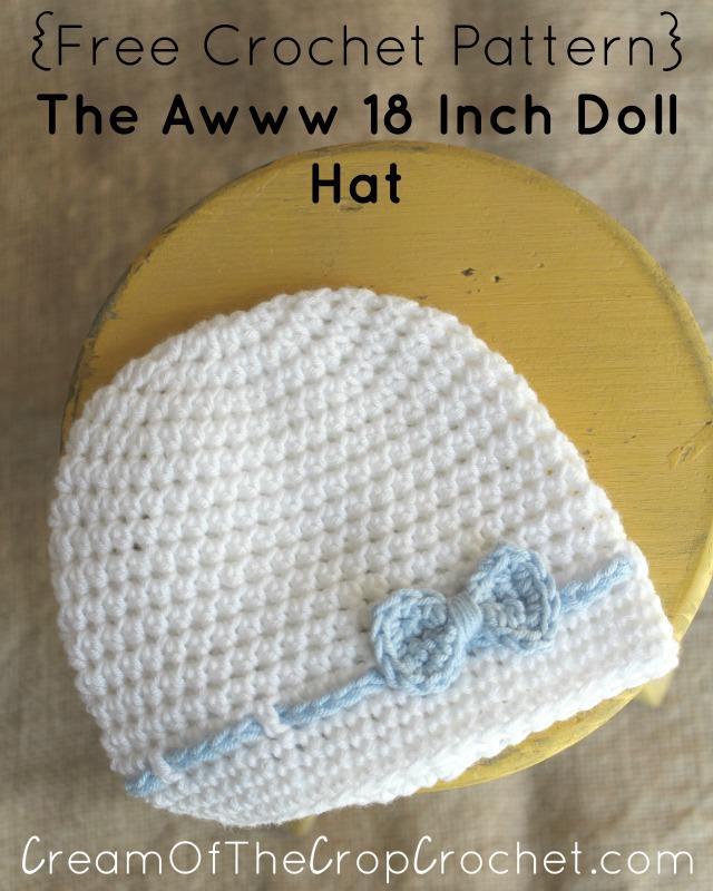 Crochet The Awww 18 Inch Doll Hat Pattern
