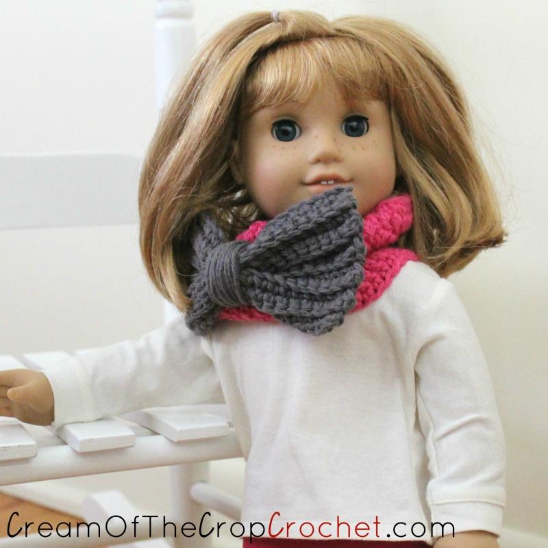 18 Inch Doll Big Bow Cowl Crochet Pattern