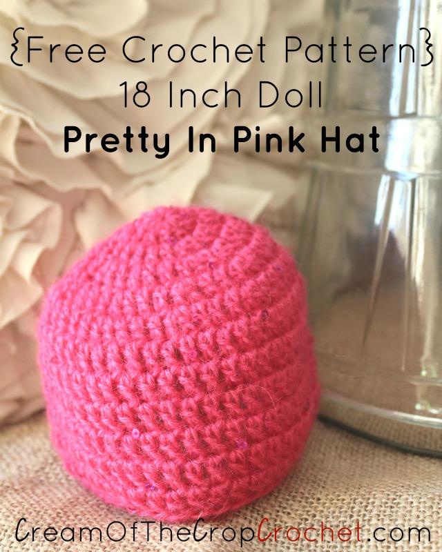 Crochet 18 Inch Doll Pretty In Pink Hat Pattern