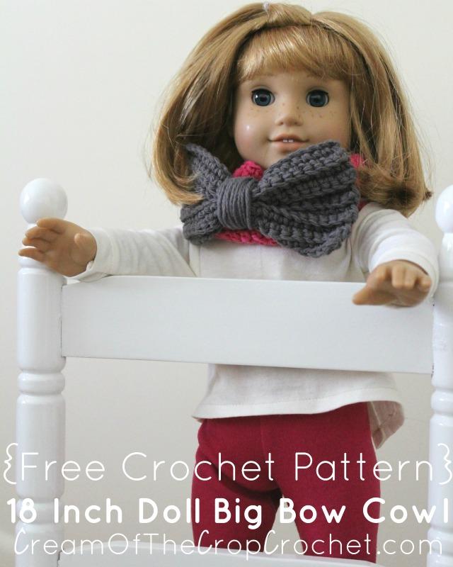 Crochet 18 Inch Doll Big Bow Cowl Pattern