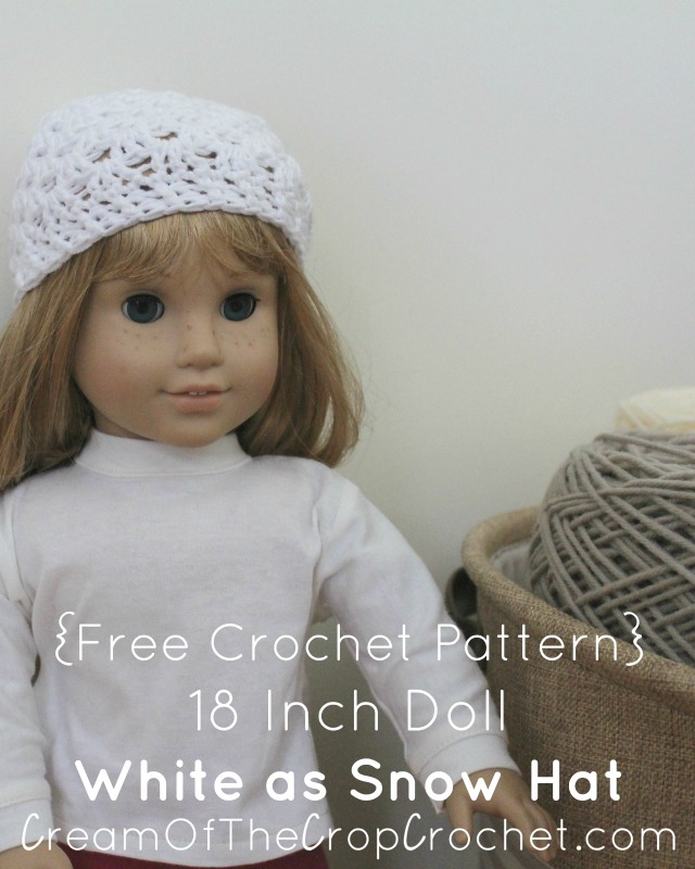 Crochet 18 Inch Doll White as Snow Hat Pattern