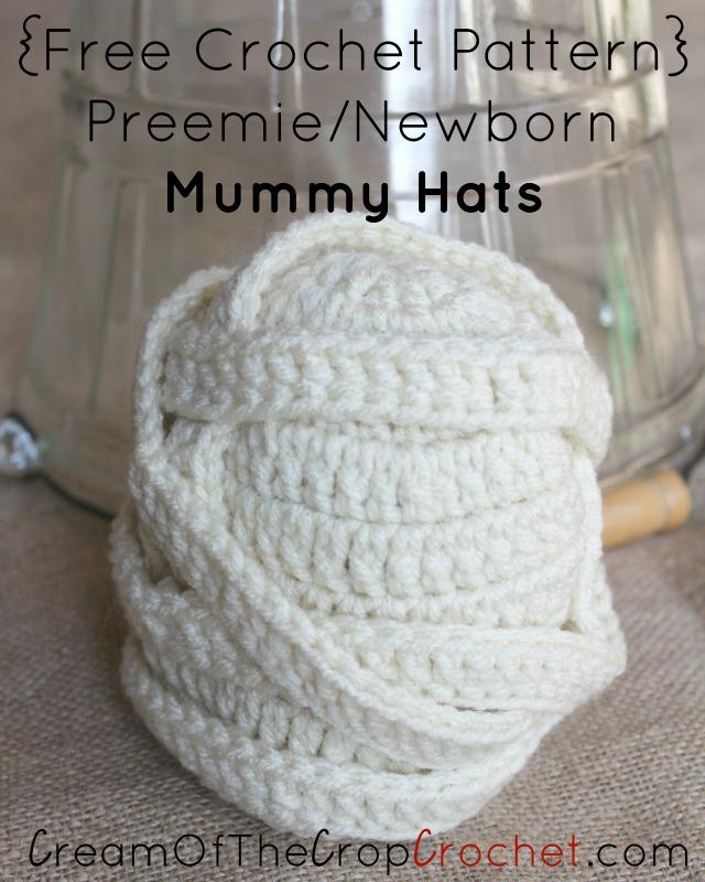 Crochet Preemie/Newborn Mummy Hats Pattern