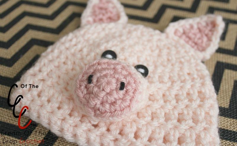 Free Crochet Baby Pig Hat Pattern : 18 Inch Doll Pig Hat Crochet Pattern Cream Of The Crop ...