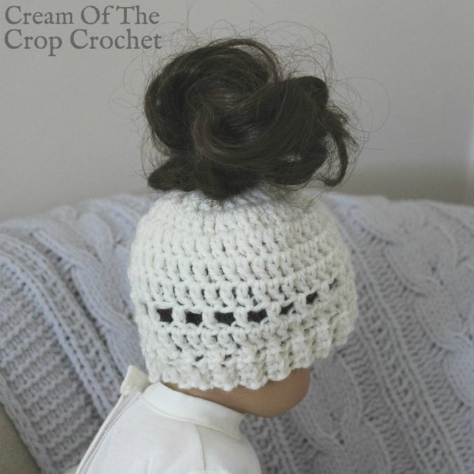 18 Inch Doll Madison Messy Bun Hat Crochet Pattern | Cream Of The Crop Crochet