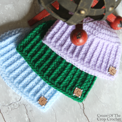 Textured Newborn Hat Crochet Pattern Video Tutorial