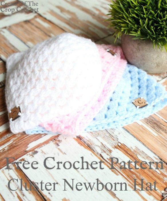 Cluster Newborn Hat Crochet Video Tutorial | Cream Of The Crop Crochet