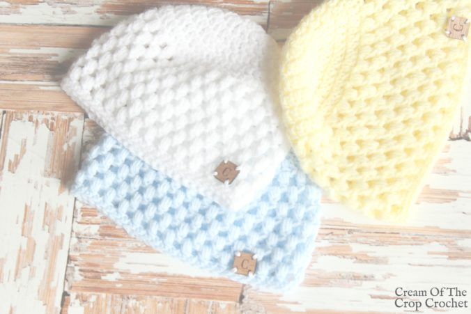 Puff Newborn Hat Crochet Video Tutorial | Cream Of The Crop Crochet