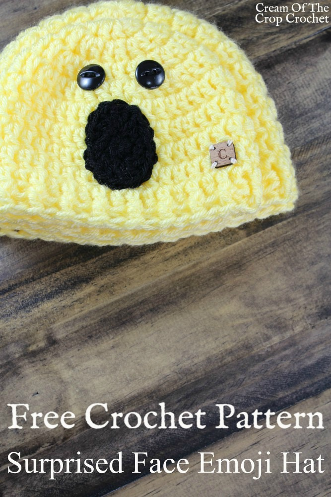 Surprised Face Emoji Hat Crochet Pattern | Cream Of The Crop Crochet